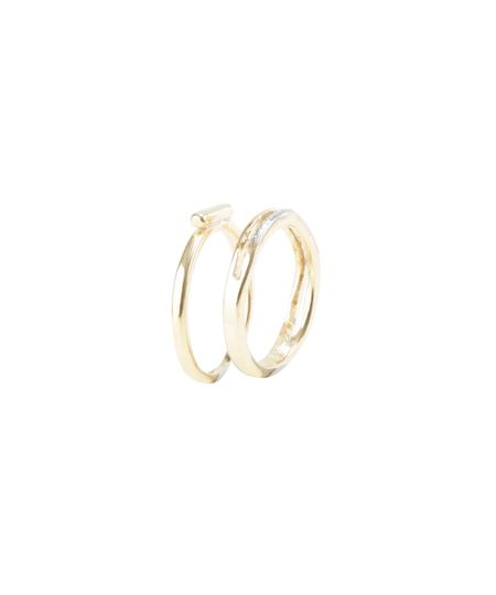 Kit de 2 Anéis Dourado