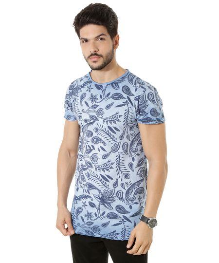 Camiseta Longa Estampada Paisley Azul