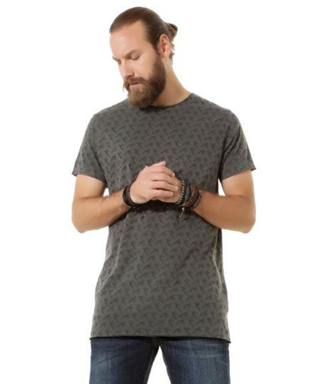 Camiseta Longa Estampada Led's Tattoo Cinza Mescla Escuro
