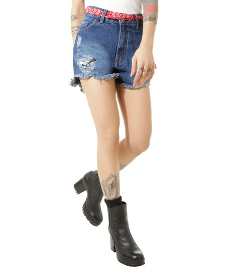 Short Jeans Relaxed Led's Tattoo Azul Escuro