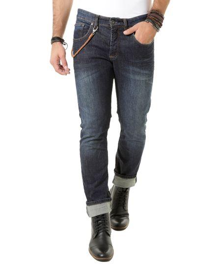 Calça Jeans Slim Led's Tattoo Azul Escuro