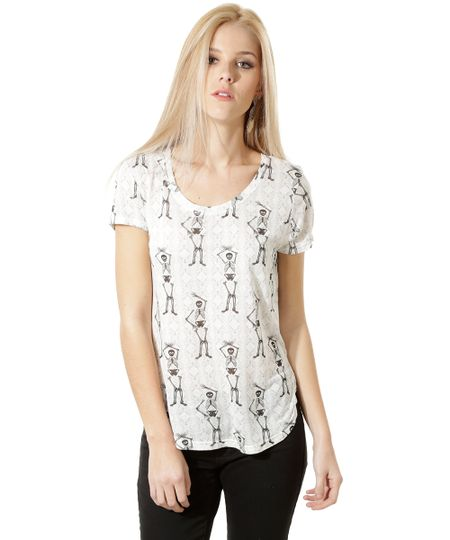 Blusa Estampada de Esqueletos Off White