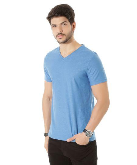 Camiseta Flamê Básica Azul