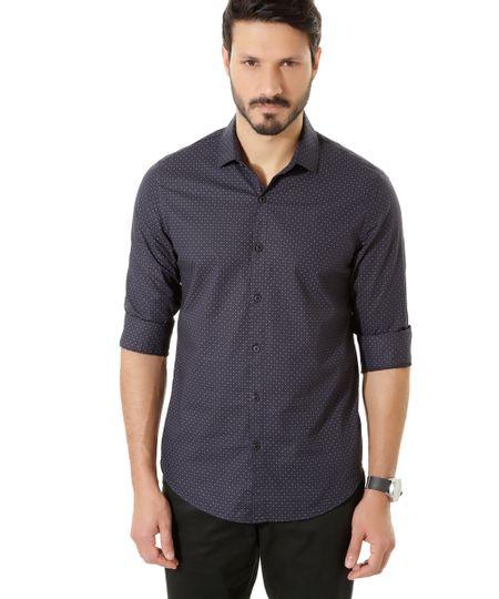 Camisa Social Slim Estampada Azul Marinho