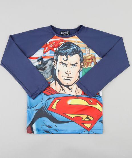 3c7c878b17485 Camiseta Infantil Super Homem Liga da Justiça Manga Longa com Proteção  UV50+ Azul Marinho