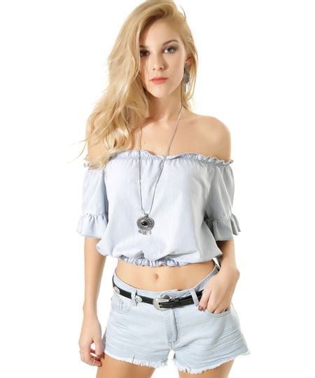 Blusa Cropped Jeans Azul Claro