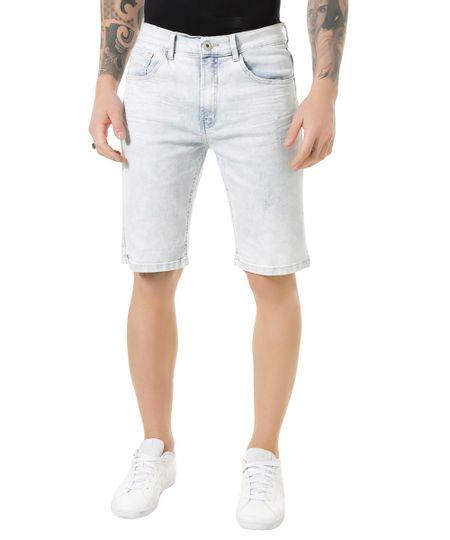 Bermuda Jeans Reta Azul Claro