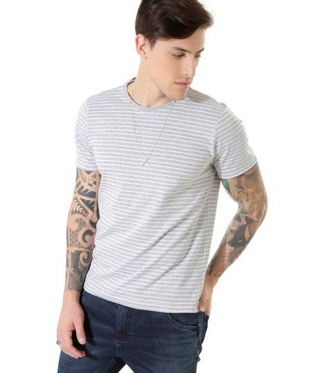 Camiseta Listrada Cinza Mescla