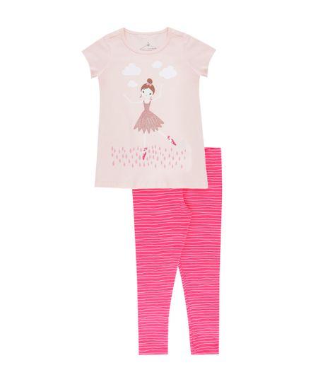 Conjunto de Blusa + Calça Legging Rosa