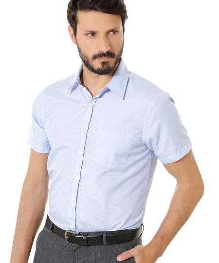 Camisa Social Comfort Xadrez Azul Claro
