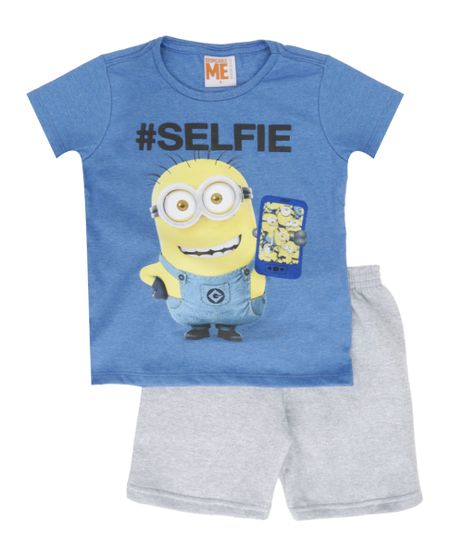 Conjunto-de-Camiseta-Azul---Bermuda-Minions-Cinza-Mescla-8407272-Cinza_Mescla_1