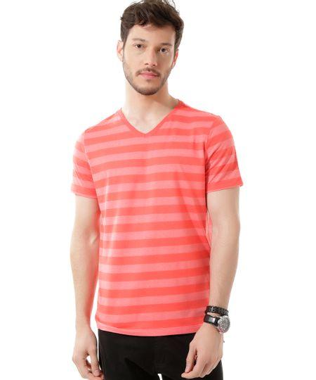 Camiseta Básica Listrada Vermelha