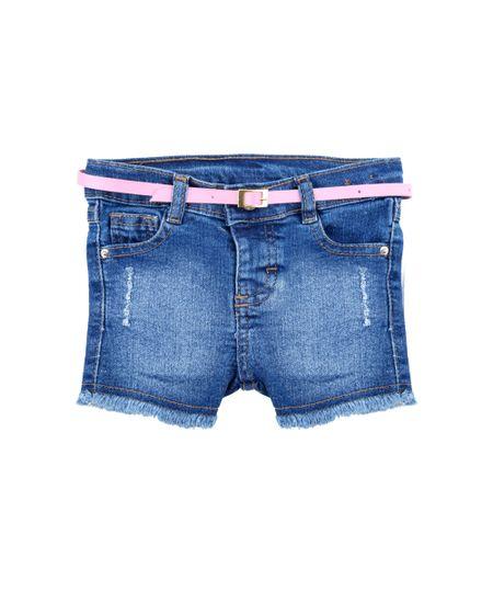 Short Jeans com Cinto Azul Médio