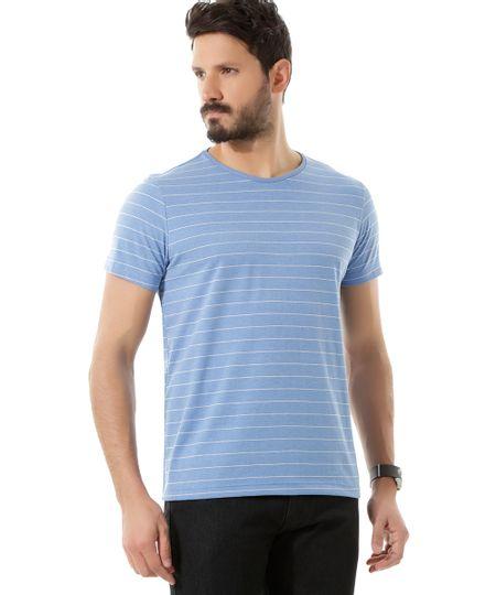 Camiseta Listrada Azul Claro
