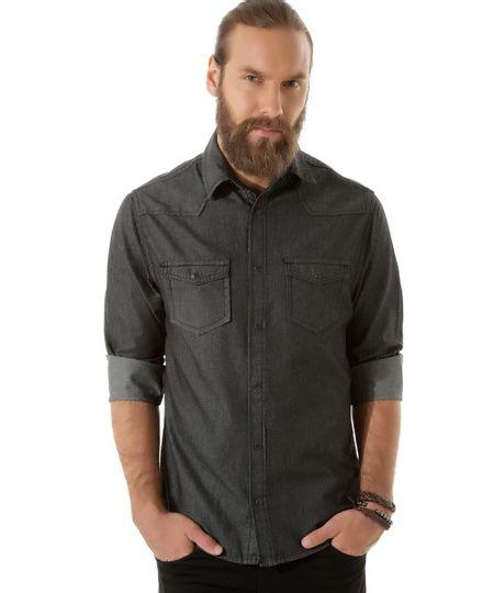 Camisa Jeans Preta