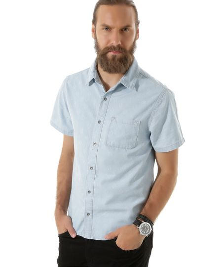 Camisa Jeans Estampada Azul Claro