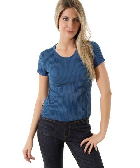 Blusa Canelada  Básica Azul Marinho