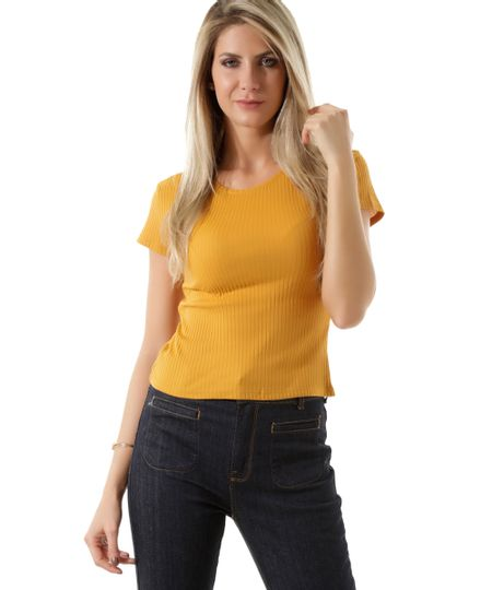 Blusa Canelada  Básica Amarelo Escuro