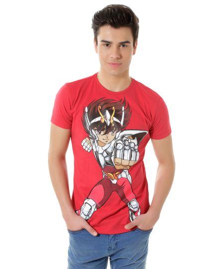 Camiseta Cavaleiros do Zodíaco Vermelha