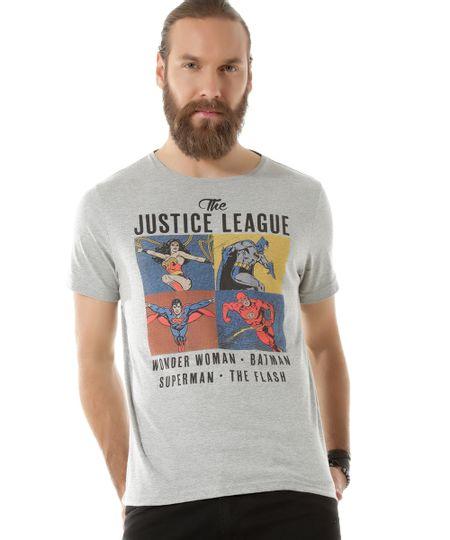 Camiseta Liga da Justiça Cinza Mescla