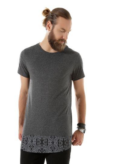 Camiseta Longa Paisley Chumbo