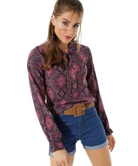 Blusa Floral com Laço Preta