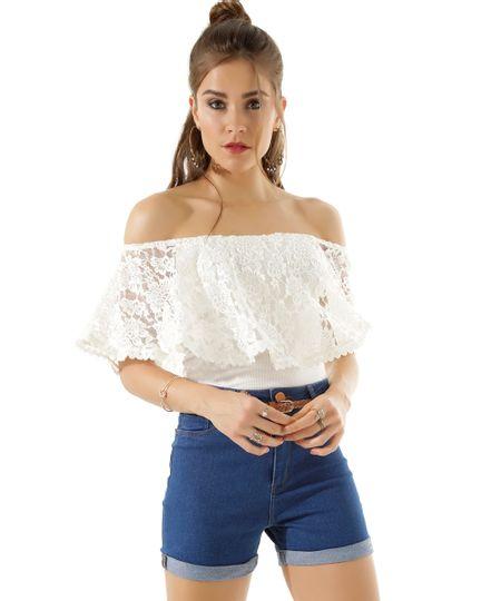 Blusa Cropped em Renda Off White