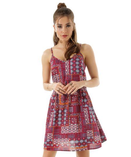 Vestido Étnico Vinho