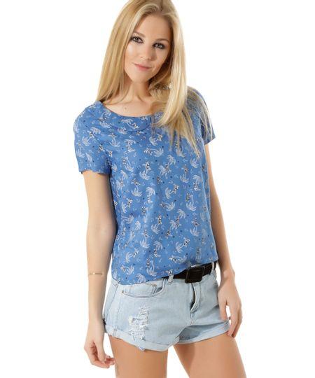 Blusa Estampada Azul Claro