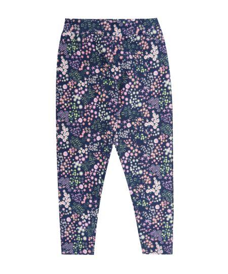 Calça Legging Estampada Floral Azul Marinho