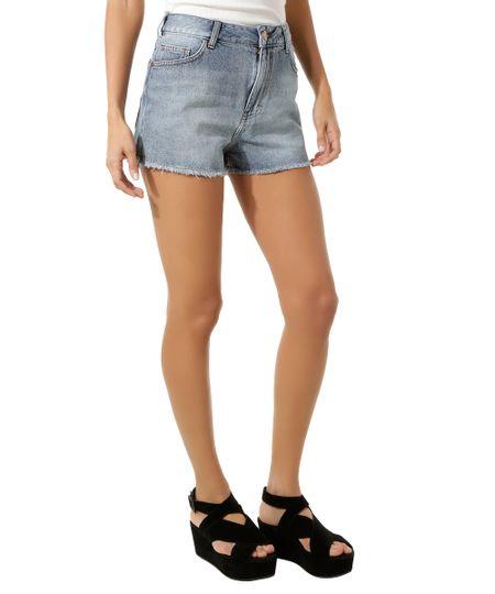 Short Jeans Boyfriend Azul Médio