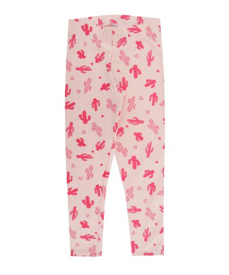 Calça Legging Estampada de Cactos Rosa Claro
