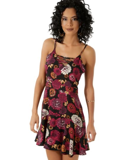 Vestido Floral Vinho