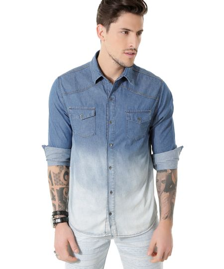 Camisa Jeans Tie Dye Azul Claro