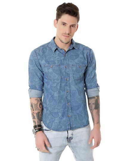Camisa Jeans Paisley Azul Médio