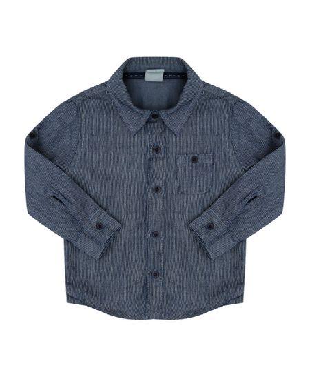 Camisa Jeans Listrada Azul Escuro