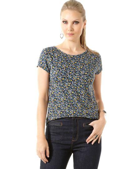 Blusa Floral Azul Marinho