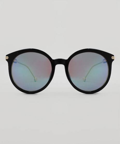 Óculos de Sol Redondo Feminino Oneself Preto - Único 3bb6d1306d