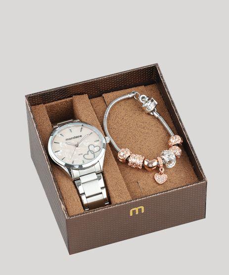 Kit de Relógio Analógico Mondaine Feminino + Pulseira - 53723L0MVNE2K  Prateado - Único 524b7b27c2