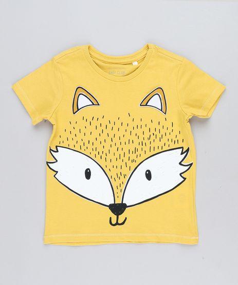 Camiseta Infantil Raposa com Orelhinhas Manga Curta Gola Careca Amarela 10df50cf15ab