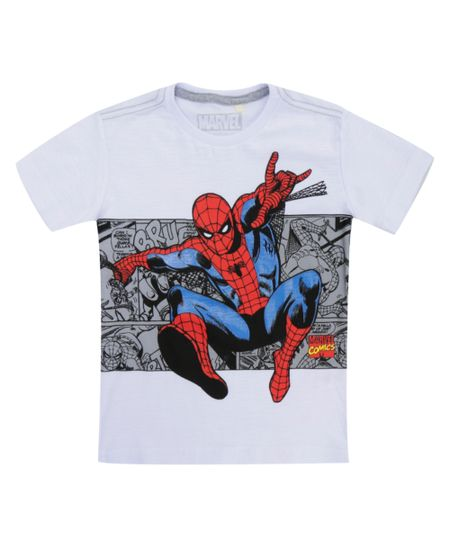 Camiseta Flamê Homem Aranha Branca