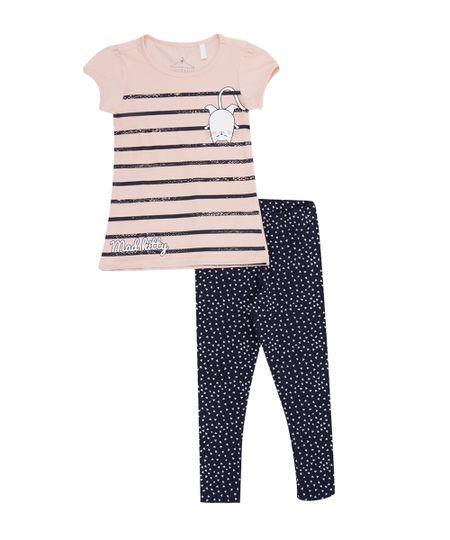 Conjunto de Blusa Rosa + Calça Legging Geométrica Azul Marinho