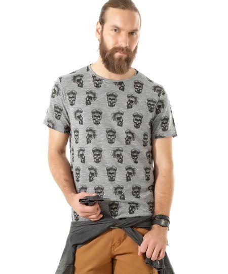 Camiseta Estampada de Caveiras Cinza