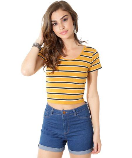 Blusa Cropped Listrada Amarela