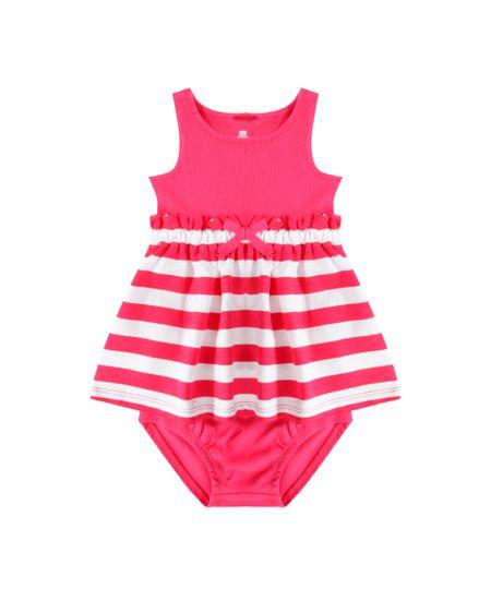 Vestido Listrado + Calcinha Pink