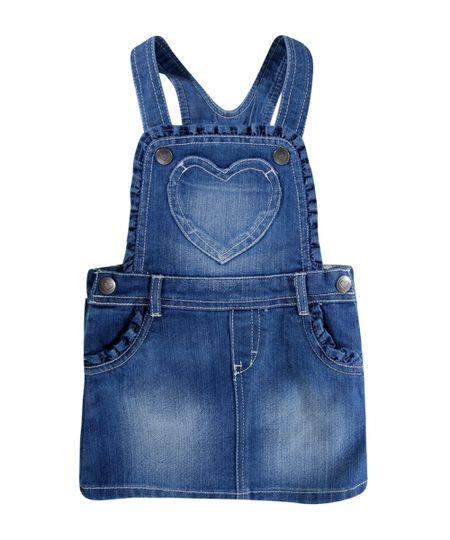 Salopete Jeans com Babado Azul Médio