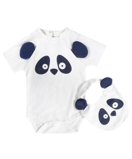 Body Panda em Algodão + Sustentável + Babador Off White