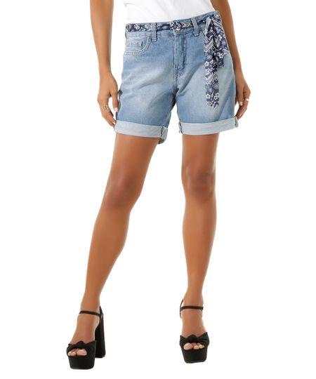 Bermuda Jeans Comfort com Faixa Azul Médio