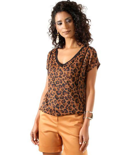 Blusa Animal Print Caramelo