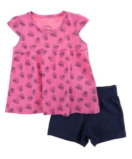 Conjunto de Blusa Rosa + Short Minnie Azul Marinho